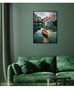 krajobraz łódka jezioro plakat