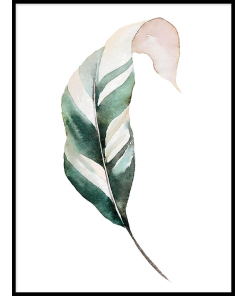Piękny plakat z zielonymi liśćmi.
