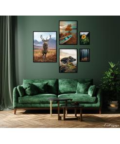 jeleń na ścianę plakat zestaw do salonu
