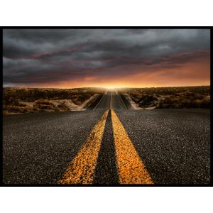 zachód słońca droga szosa plakat zestaw
