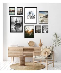 zestaw plakatów z napisem krajobraz