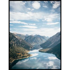 rzeka plakat góry niebo las