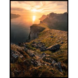zachód słońca plakat z krajobrazem klif ocean
