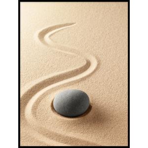 kamień na piasku piękny plakat