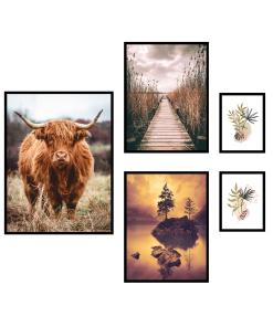 byk krowa plakaty krajobraz grafika