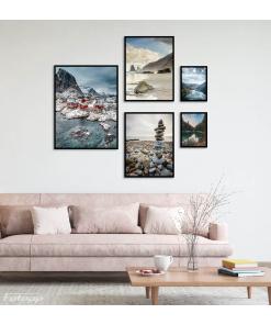 norwegia plakaty kamienia plaża góry krajobrazy