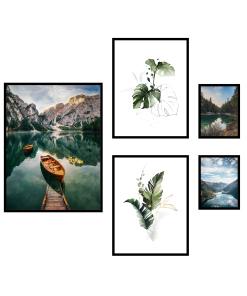 zestaw plakatów łódka na jeziorze góry liście rzeka