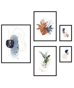 plakaty grafiki do salonu w zestawie foto pp