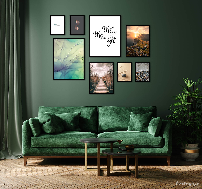salon z plakatami inspiracje