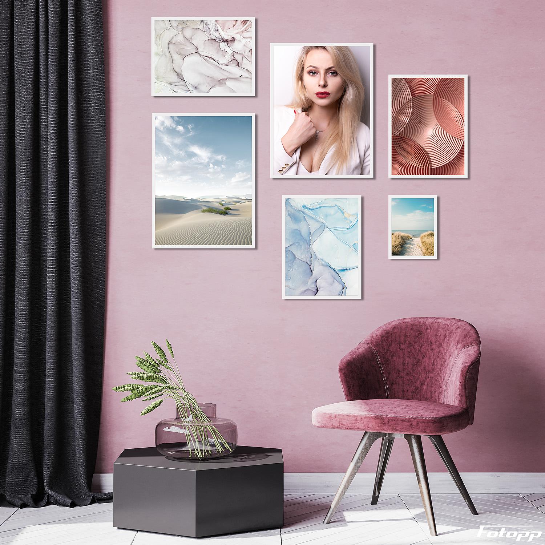 komplet plakatów z portretem kobiety do mieszkania