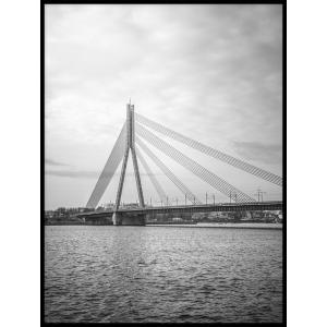 most krajobraz plakat bw