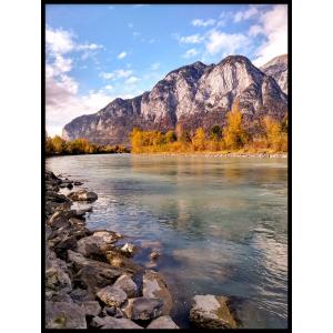 klif krajobraz rzeka woda plakat