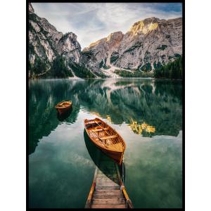 łódka odbicie plakat góry