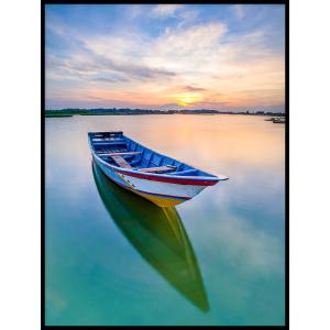 łódka na wodzie plakat