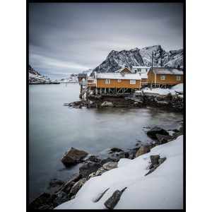 śnieg dom jezioro krajobraz plakat