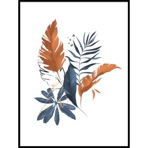 grafika kwiaty liście plakat