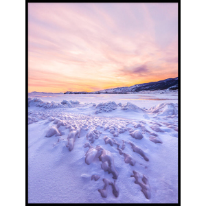 zima śnieg zachód słońca plakat