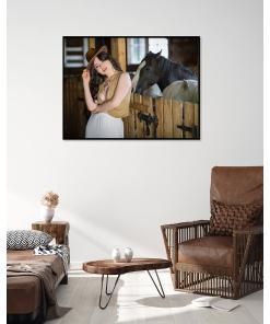 kobieta kowboj sesja portret plakat