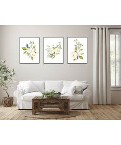Kwiaty tryptyk do salonu plakaty