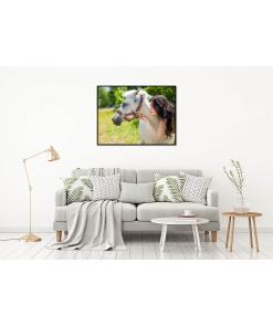 portret kobieta z koniem plakat do mieszkania