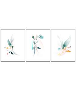 tryptyk abstrakcja listki plakaty do mieszkania