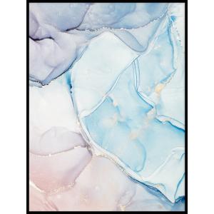 plakat akwarela błękitny niebieski różowy