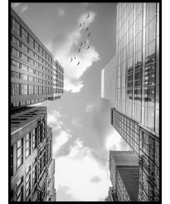 Wieżowce Czarno biały plakat na ścianę miasto budynki