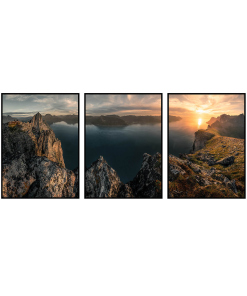 zachód słońca tryptyk góry plakat