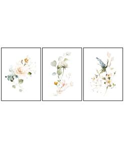 tryptyk kwiaty plakaty komplet do mieszkania